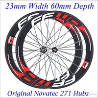 Wholesale FFWD F6R C Carbon Fiber Road Bike Racing Wheelset mm Clincher Bicycle Wheels High Performance K Matt Red Decal With Novatec Hubs