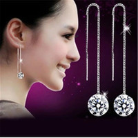 Wholesale Women Elegant Lady Silver Shinning Rhinestone Stud Bride Wedding Earrings Party Statement Jewelry Earrings Valentine Gift