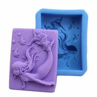 Wholesale Handmade Soap Mermaid Silicone Mold Candy Mould Cake Stencil Sugar Craft Soap Silicone Tools x6 x2 cm E128