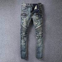 100% cotton denim jeans - 2016 Summer Balmain Distressed Moto Biker Denim biker jeans Slim fit COTTON WASHED JEANS Mens Balmain jeans