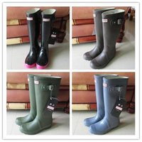 Wholesale Fashion Hunter Boots Women Wellies Rainboots Ms Glossy Hunter Wellington Rain Boots Wellington Knee Boots Fast Delivery DHL free