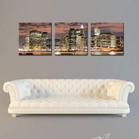 art addition - 3 Panel New York City Night Canvas Print Stretched Canvas No Frame Featuring The perfect fine art addition to your home or office decor