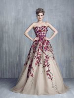 Wholesale New Trend Colorful Prom Gowns With Sweetheart Neck D Floral Embroidered Sleeveless Arabic Cocktail Dresses With Zip Back Court Train