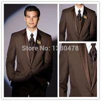 Wholesale Custom Made Brown Groom Tuxedos Notch Collar Groomsmen Men Wedding Suits Jacket Pants Tie Vest