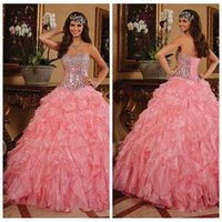 beautiful corset dresses - 2016 Beautiful Beaded Crystals Corset Organza Quinceanera Dresses Ball Gown Bandage Back Cascading Ruffles Tiers Girl s Prom Pageant Gowns
