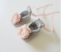 ballerina t - Grey Crochet Baby Ballerina Shoes in Cotton with Pink Crochet Flower Spring and autumn Crochet Baby Shoes Cute Baby Shower Gift