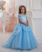 Wholesale Princess Lace Off Shoulder Flower Girls Dresses Blue Short Sleeve Cute Kids Formal Prom Pageant Gowns with Flower Neckline
