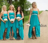 Wholesale Strapless Short Green Beach Dresses - Turquoise Beach Bridesmaid Dresses 2016 High Low Cheap Modest Western Country Chiffon Long Wedding Guest Gowns Beaded Plus Size Maternity