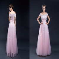 Wholesale Pink Bateau A Line Long Evening Dresses With Lace Appliques And Beads D Petals Sweety Evening Gowns