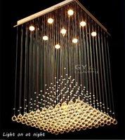 Cheap L60*W60*H80cm Large Modern Crystal Chandelier Lights Square Luminaire Decor Luster Pendant Lamps Chandeliers seg remote control