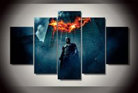 begin figure - 5Pcs With Framed Printed batman begins dark knight Painting on canvas room decoration print poster picture canvas painting canvas