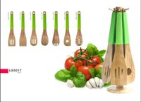bamboo cooking utensils - fashion wood bamboo with silicone colored handle kitchen utensil cooking tools with stand in set factory directly sell