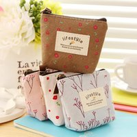 Wholesale Small Flower Car - Flower Ladies Canvas Classic Retro Small Change Coin Purse Little Key Car Pouch Money Girl's Mini Short Coin Holder Wallet