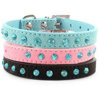 Wholesale Factory Price Small Pet Dog Velvet PU Leather Collar Puppy Cat Crystal Rhinestone Neck Strap