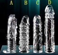 al por mayor condom extension-La alta calidad de cristal anillos Cock adultos del sexo de los productos reutilizables Condom juguetes atractivos mangas del pene del pene anillos del martillo de Extensión