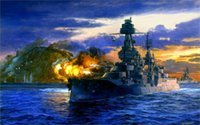 battleship pieces - art fleet painting Pacific Lone Star battleship Texas salvo shelling Iwo Jima Pacific x36 inch Silk Poster wall decor