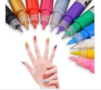 beautiful natural nails - 1set Colors Professional Beautiful D Nail Art Paint Drawing Pen Acrylic Nail Art Polish Carved Pen Kit Set DIY nail tools