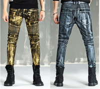 american brushes - High end brush paint Gold coating balmain jeans fashion locomotive stitching jeans Cultivate one s morality men s crime stretch jeans