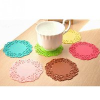 Wholesale Fashion Candy Color sweet lace cutout insulation mat silicone pad mat slip resistant pad bowl pad colors