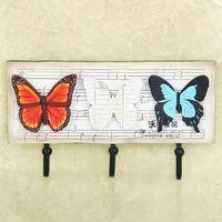 bathroom hook rail - The butterfly European rural creative resin coat hanger Decorative hook bathroom door hooks and rails