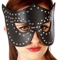 Wholesale Sexy Bondage Mistress Leather Studded Masquerade Mask Eye Patch Shade Mask Cover Blinder Blindfold Fetish Masked ball mask