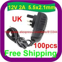 Wholesale 100 UK Pin AC V V Adapter DC V A LED Light Power Supply Charger