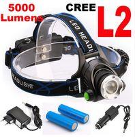 Wholesale Drop shipping Super bright LM W CREE XML L2 LED Headlamp LED Headlight flashlight head light led lamp x18650 Battery charger