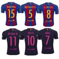 Wholesale Top thai Quality Jerseys MESSI ARDA A INIESTA SUAREZ SERGIO PIQUE I RAKITIC barcelona soccer jersey home and away shirt