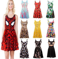 Wholesale Retail style Women s D printing black milk spider man batman galaxy prints elastic summer sexy Girl skater one piece pleated vest dress