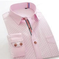 Wholesale Please Check Size Carefullly Mens Dotted Dress Shirt Cotton Slim Fit Fashion Casual Style for Summer