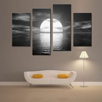 Wholesale 4 Panel Canvas Paintings Over the Sea the Moon Shines Bright Rainbow Seascape Painting Printed on Canvas of Wall Art with Wooden Framed