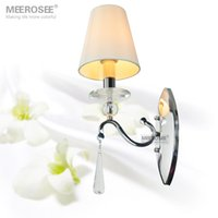 Wholesale Hot Sale Crystal Wall lighting fixture Silver Wall Sconces lamp with fabric lampshade Modern wall brackets light Guaranteed