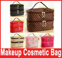 Wholesale DOUBLE LAYER MAKEUP COSMETIC BAG Small Dots Make Up Organizer Bag Box Case Women Men Casual Travel Multi Functional Tool Storage Bag