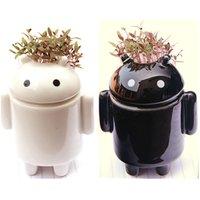 andriod robot - Mini Office Desktop Andriod Robot Mini Plant Potted Bonsai with Love Grass Seeds Soil DIY Mini Bonsi
