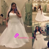 A-Line Reference Images 2016 Spring Summer Modern Plus Size 2016 A-Line Wedding Dresses with Sweetheart Tulle Lace Applique Corset Back Chapel Train Maxi Bridal Gowns For Fat Bride