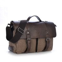 leather canvas laptop bag - Men s Canvas Leather Belt Handbags Vintage Leather Briefcase Laptop Shoulder Bags Causal Outdoor Cross body Bags