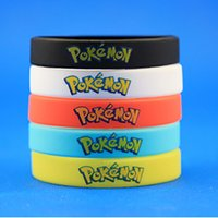 Wholesale Hot Sale Poke go Silicone Bracelets Colors Kids Wristbands Soft Silicone Wrist Straps Figures Kids Toys Kids Christmas Gift