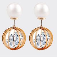best earring backs - Double Sided Front and Back Pearl Cubic Zirconia CZ Swing Ball Golden Stud Earrings Best Gift for Women