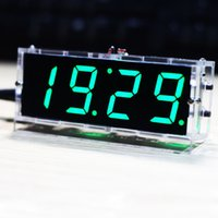 Wholesale Compact digit DIY Digital LED Clock Kit Light Control Temperature Date Time Display with Transparent Case