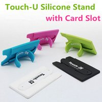 Wholesale hot Korean Touch U Shape Universal Lovely Mini Silicone Phone holder Stand with Card Slot for cell phone