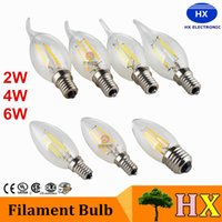 Wholesale Candle Warmers White Wholesale - led lights Edison Filament Dimmable Led Candle Lamp 2W 4W 6W E14 E12 Led Bulbs Light High Bright led lamp e27 candle light