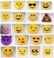 Wholesale best price Diameter inch designs Cute Emoji Cushion Smiley Pillows Stuffed Plush Toy Yellow Round Pillow Cartoon Cushion Pillows D535