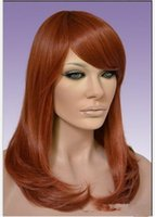 Wholesale medium length wig auburn heat resistant synthetic hair wigs for women short curly wig with oblique bangs