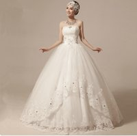 Wholesale 2015 vestido de novia A Line Lace Strapless Off The Shoulder Lace Up Long Wedding Dresses