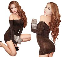 Wholesale 2016 New Sexy Off Shoulder Nightclub Uniform Wear Hip Pack Sexy Lingerie Nightgown Adult Clothing FS0102