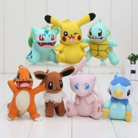 anime keychain lot - 7pcs cm Pikachu Bulbasaur Charmander Piplup Squirtle Eevee Mew Mini Plush Toys with hook keychain Soft Stuffed Animal Dolls