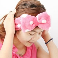 Wholesale Lovely princess wash towel beam wave point love butterfly makeup headband Coral Fleece Headband G