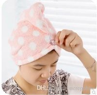Wholesale fashion wave point thick increase coral fleece dry hair cap super absorbent thickened towel dry hairZ00243