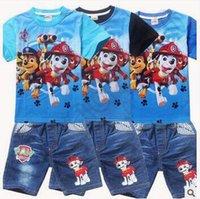 Cheap 40set CA3847 New Arrival 6 Styles 2pcs set Paw Dog Baby Outfit Set Kids Patrol Short Cotton T-Shirt Denim Pants Suit Kids Casual Clothing