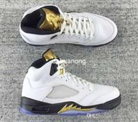 achat en gros de 5s d'or-2016 Retro Médaille d'or olympique 5 Hommes Chaussures de basket en gros Top qualité en cuir véritable 5s Air Retro Chaussures de basket-Eur Taille 41-47